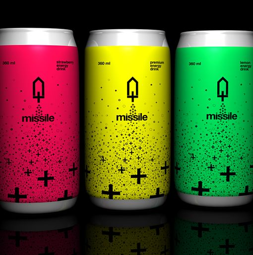 Energy of a Missile, it's clever. Then all the '+' look fizzy like a soda or energy drink already is. It's easy to communicate and read. The colors are fun and catchy.