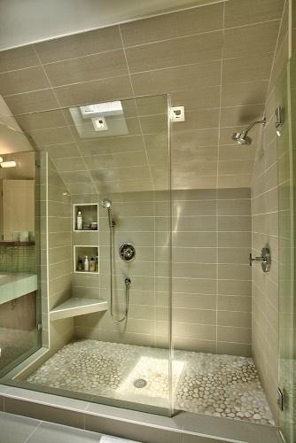 River Rock Tile For Shower Floor Elongated Gray Tiles Walls