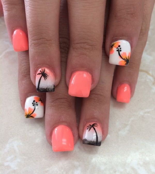 Melon themed Palm Tree Nail Art design. The nails are painted in white and melon cover. The palm trees are painted in black as if to depict a silhouette while the other nails have flower designs on them.