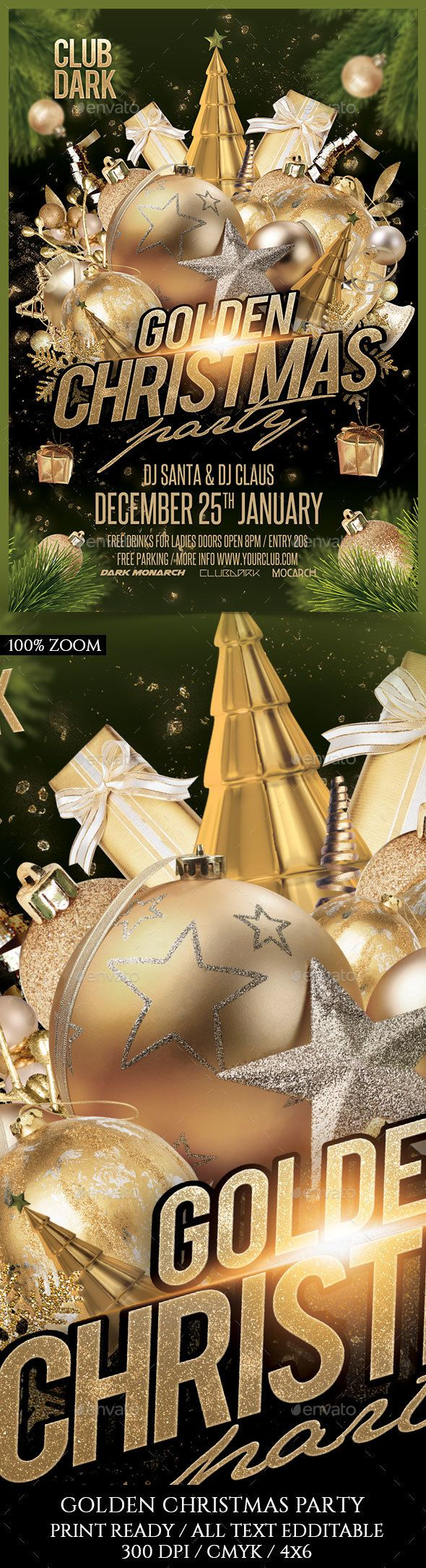 Golden Christmas Party by darkmonarch Golden Christmas Party Flyer Template PSD Super Easy to edit text and Elements Resolution: 300dpi CMYK color Well organized in fol