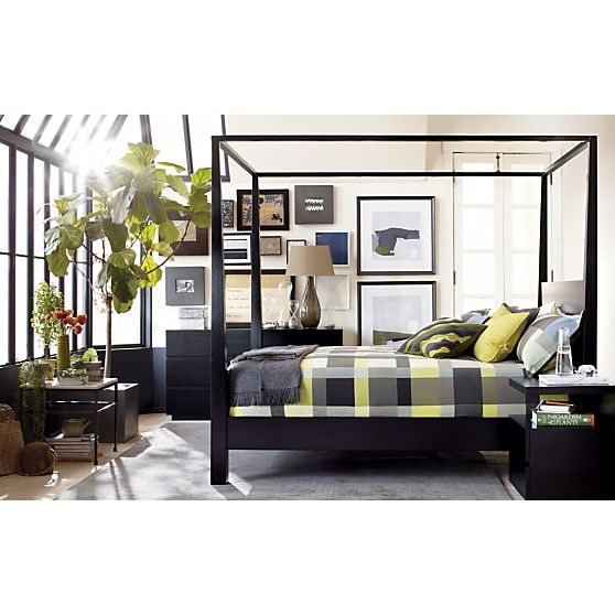 Pavillion Black Canopy Queen Bed in Beds, Headboards | Crate and Barrel