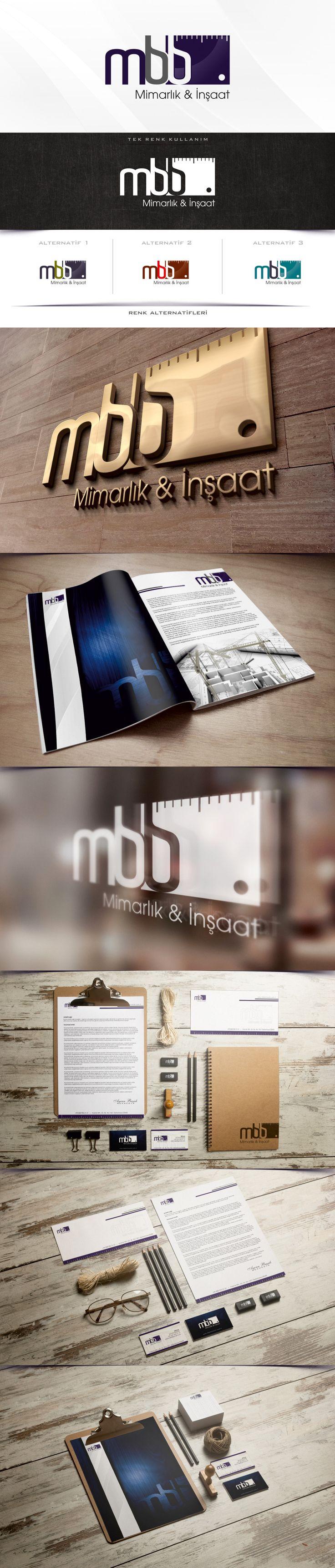 Mbb mimarlık inşaat firması için hazırladımız logo tarımı ve kurumsal kimlik çalışması