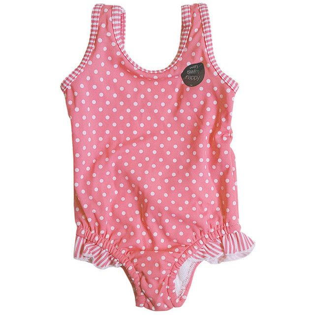 Summer Baby Girls Swimsuit Cute Polka Dot Ruffle One Piece Swimwear Bathing Suit Beach Swimming Wear Fit 3-24 Month