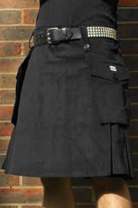 kilts for men | Black corduroy combat kilt | I like the belt, too