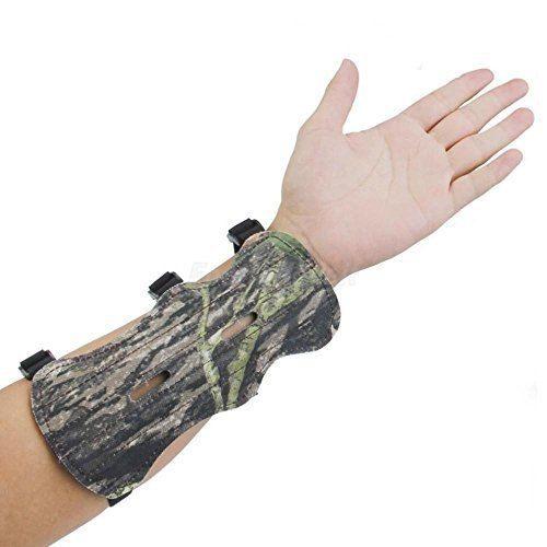 Archery Bow Arm Guard Protection canvas Forearm Safe 3-Strap Camo Leather V!