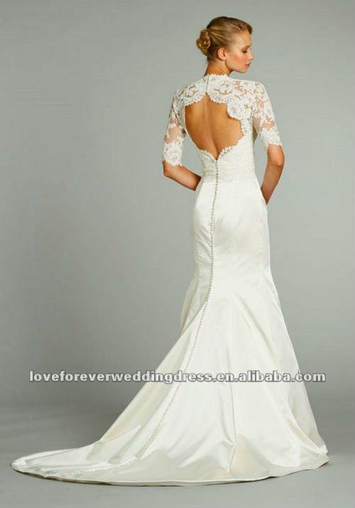 2013 open back three quarter long sleeve lace wedding for Wedding dresses with three quarter length sleeves