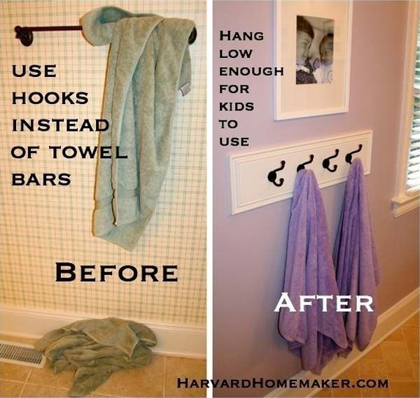 #6. Have the hooks hanging low enough for children to easily reach their towels.