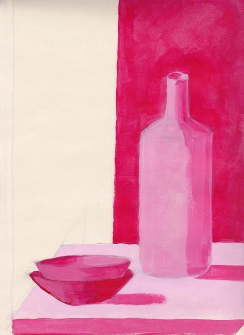 Je ziet hier een kwaliteitscontrast omdat het roze op de fles overloopt naar lichter.