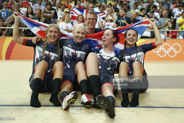 Laura Trott, Joanna Rowsell-Shand, Katie Archibald, Elinor Barker of Great Britain celebrate winning the gold medal after the Women's Team Pursuit Final for the Gold medal on Day 8 of the Rio 2016 Olympic Games at the Rio Olympic Velodrome on August 13, 2016 in Rio de Janeiro, Brazil.