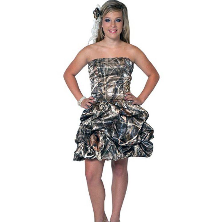 Realtree Camo Hot Pink Short Prom Dresses