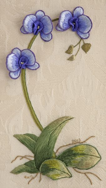 Moth Orchid - by Helen Gottschalk ~ 2014 Exemplary Ribbon Winner - Second Place ~ National Academy of Needlearts