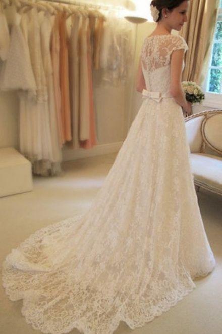 Scoop Neckline Capped Sleeves A-line Belt Lace Wedding Dress - Shedressing.com