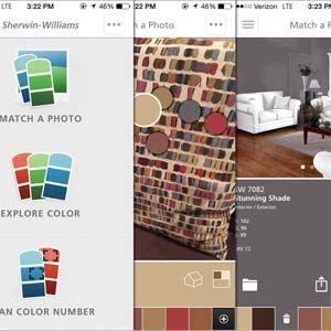 The Color Snap app by Sherwin-Williams allows you to create color palettes and match colors to a photo in your phone. The color-match feature will automatically pick out the hues in the photo and create a match or a selection of complementary colors.