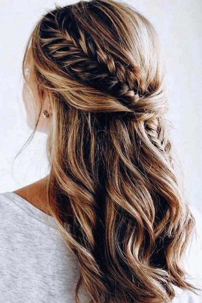45 Perfect Half Up Half Down Wedding Hairstyles Wedding Forward Hair Lengths Medium Length Hair Styles Elegant Wedding Hair