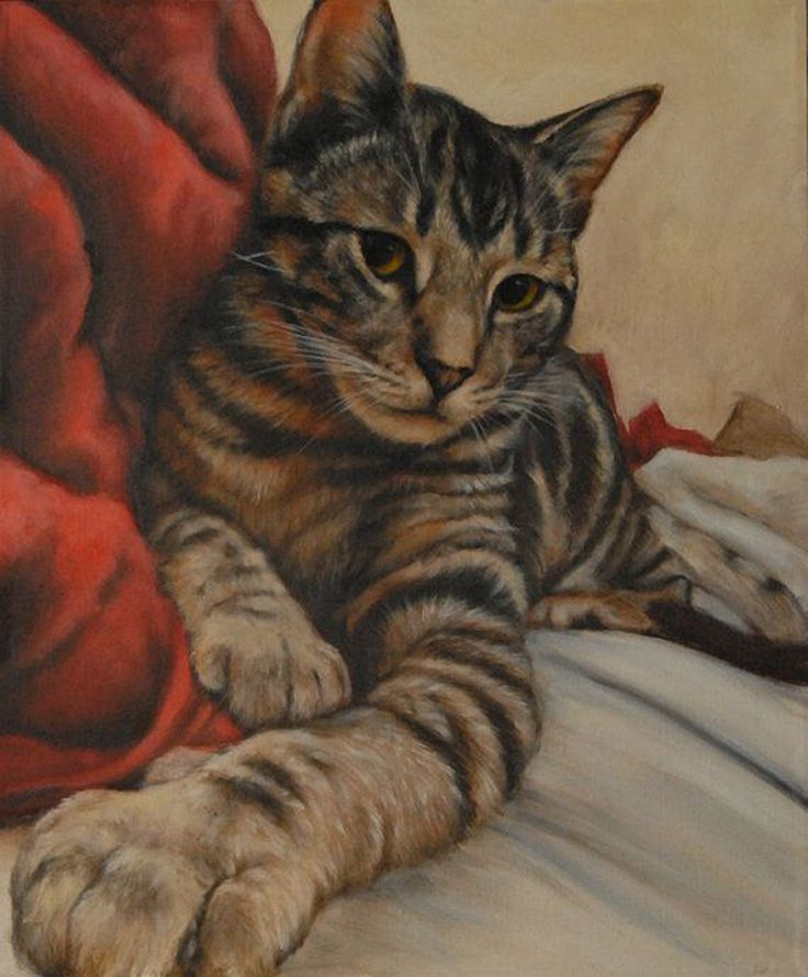 Custom Pet Portrait Tabby Cat Painting by FeatherStonePortrait