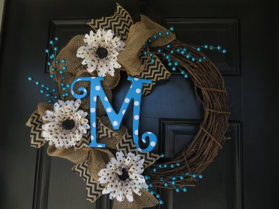 Burlap Wreath with Polka Dot Letter #jute