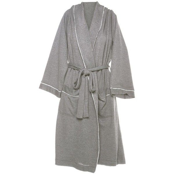 Cosabella Bella French Terry Robe ($160) ❤ liked on Polyvore featuring intimates, robes, grey, gray robe, grey robe, french terry robe, dressing gown and cosabella robe