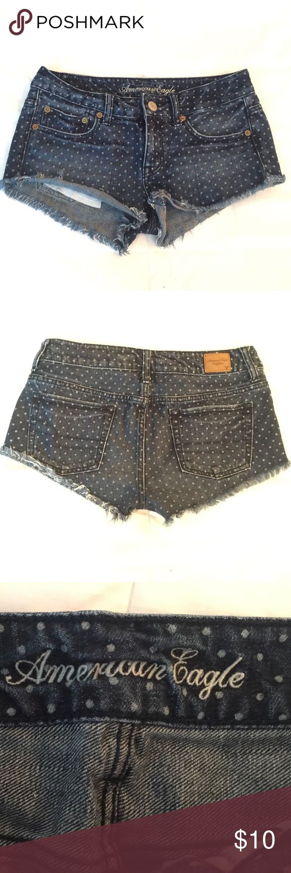 American Eagle Polka Dot Denim Shredded Shorts. Low Rise Shredded Denim Shorts, with white Polka Dots. American Eagle Outfitters Shorts Jean Shorts