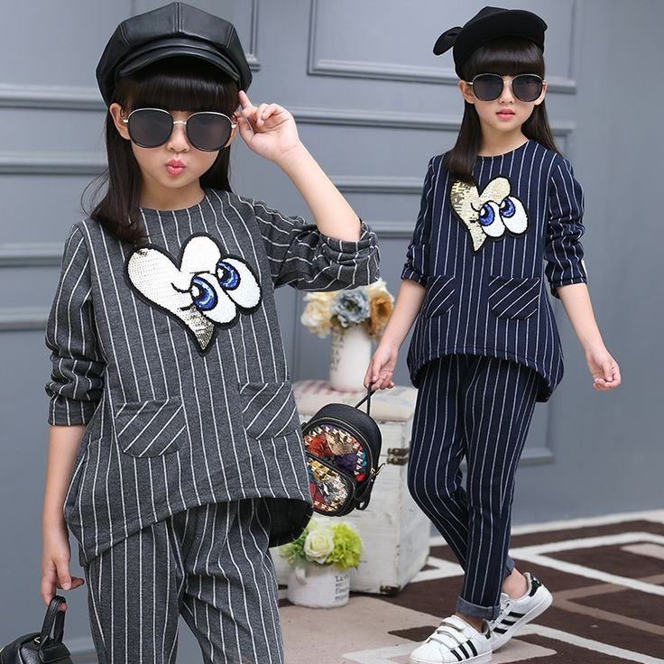 22.30$  Buy here - girls clothing sets striped print long sleeve shirt +pants 2 pieces 2016 autumn fall boutique kids clothing 12 years old teen  #buyininternet