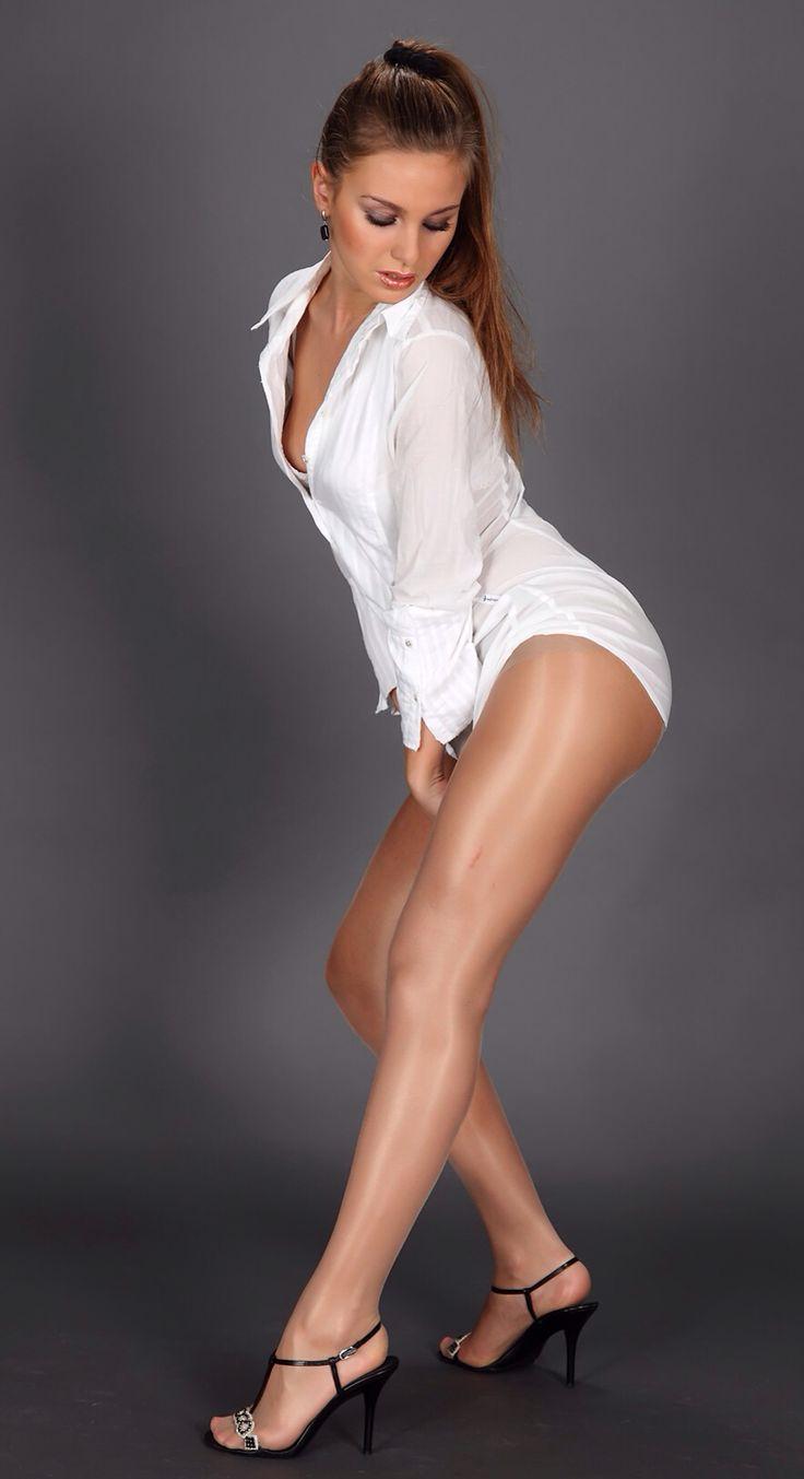 Gloss tan pantyhose tights foo tjob - 1 9