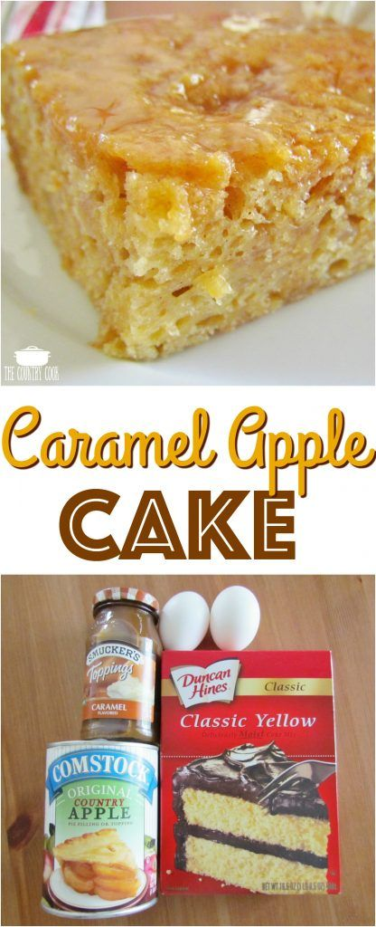 Easy Caramel Apple Cake recipe from The Country Cook #apple #cakes #recipes #ideas #desserts #cakemix