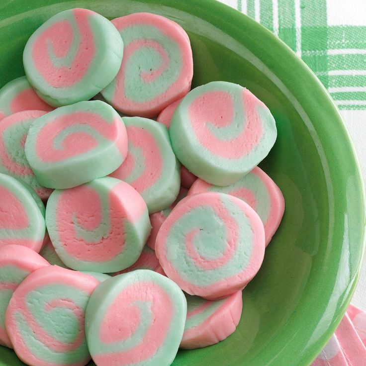 Pinwheel Mints Recipe -Both my grandmother and my mom used to make these eye-catching confections as a replacement for ordinary mints. When I offer them at parties, guests tell me the candies are wonderful, and then ask how I created the pretty swirl pattern. —Marilou Roth, Milford, Nebraska