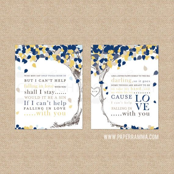 "Wedding Song Lyric Tree, Elvis Presley ""Only Fools Rush In"", Wedding or Anniversary Gift // Choose Art Print or Canvas // W-L12-2PS"