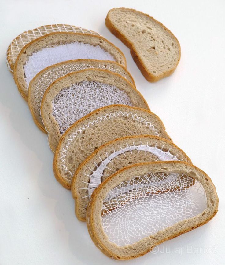 For Slovakian textile lover Terézia Krnáčová, thread is as important as air or food. To honor this obsession, she created Everyday Bread, a simple project in which she elaborately stitches and weaves thread into slices of bread.