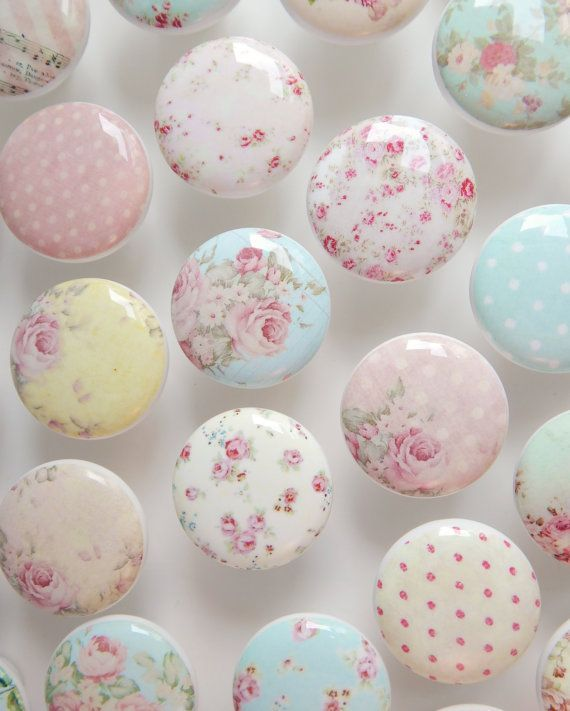 Shabby Drawer Knobs - Huge Assortment- Cottage Chic Knobs, Pretty Floral Drawer Pull, Pink Flowers- 1 1/2 Inches