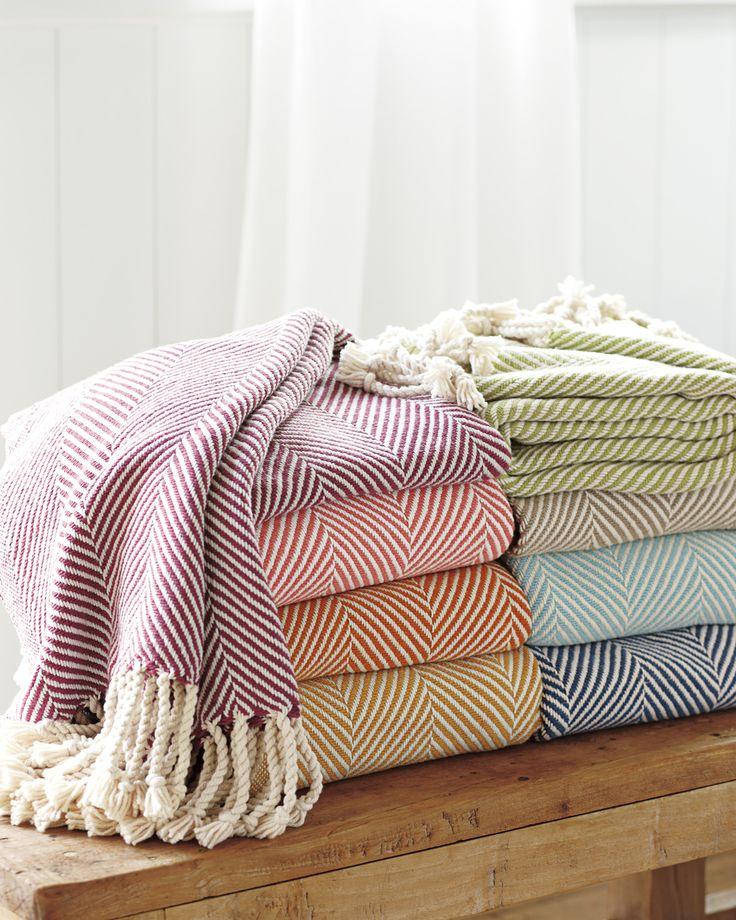 colorful herringbone throw blankets