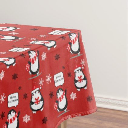 Merry Christmas Penguin  red Holiday Tablecloth - merry christmas diy xmas present gift idea family holidays