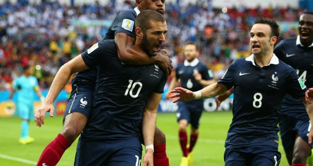 Karim Benzema of France celebrates scoring the first goal with Patrice Evra, Mathieu Valbuena during the 2014 FIFA World Cup Brazil Group E ...