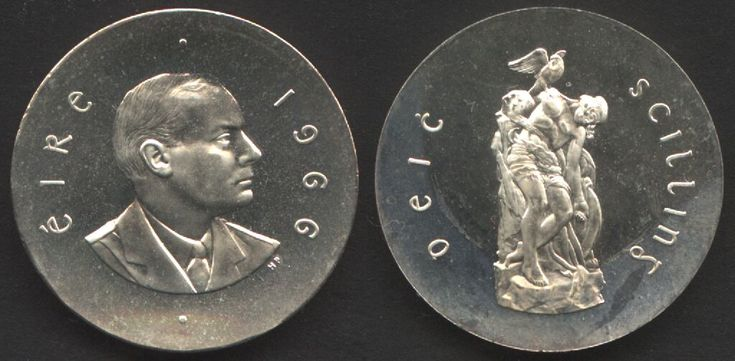 Pearse 10 Shillings - 1966 - Proof. Pearse on one side, Cuchulainn on the other. Pride or propaganda? I love stuff like this.