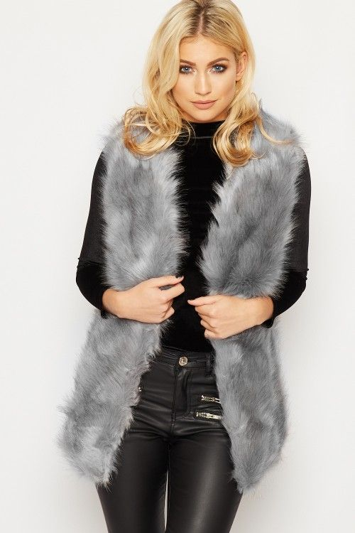 Shayna Faux Fur Sleeveless Gillet   WearAll