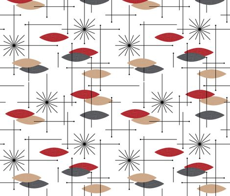 Retro Curtain Fabric - Orbs #4 (Red/Grey/Tan) - gammagammahey - Spoonflower