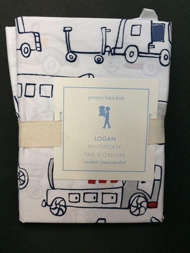 Pottery Barn Kids LOGAN PILLOWCASE Transportation Car Plane Truck Bedroom Bed NW #PotteryBarnKids #Patterned