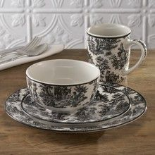 Waverly Country Life Black 16-Piece Dinnerware SetIdeas, Tea Sets, Black Whit Dishes, Toile Dinnerware Sets, Black And White, Teas Sets, Farmhouse Tables, Country Life, Dinnerware Pattern