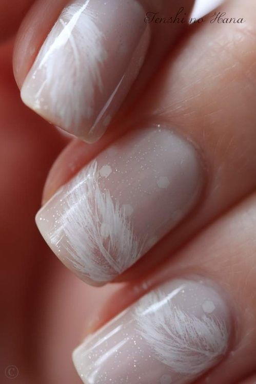 Nude Feather nails: Polka Dots, Nude Nails, Nailart, Wedding Nails, Nails Design, White Feathers, Naildesign, Feathers Nails Art, Nails Polish