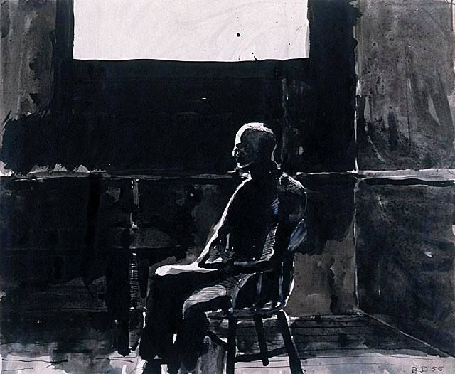 Richard Diebenkorn (American, Bay Area Figurative Movement, 1922–1993): Seated Man under a Window, 1956