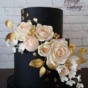 Черный, румяна и Золотой Цветочный свадебный торт