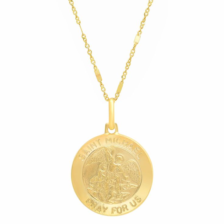 Sterling Essentials Italian 14K Gold 18 mm St. Michael Medal Necklace Women's