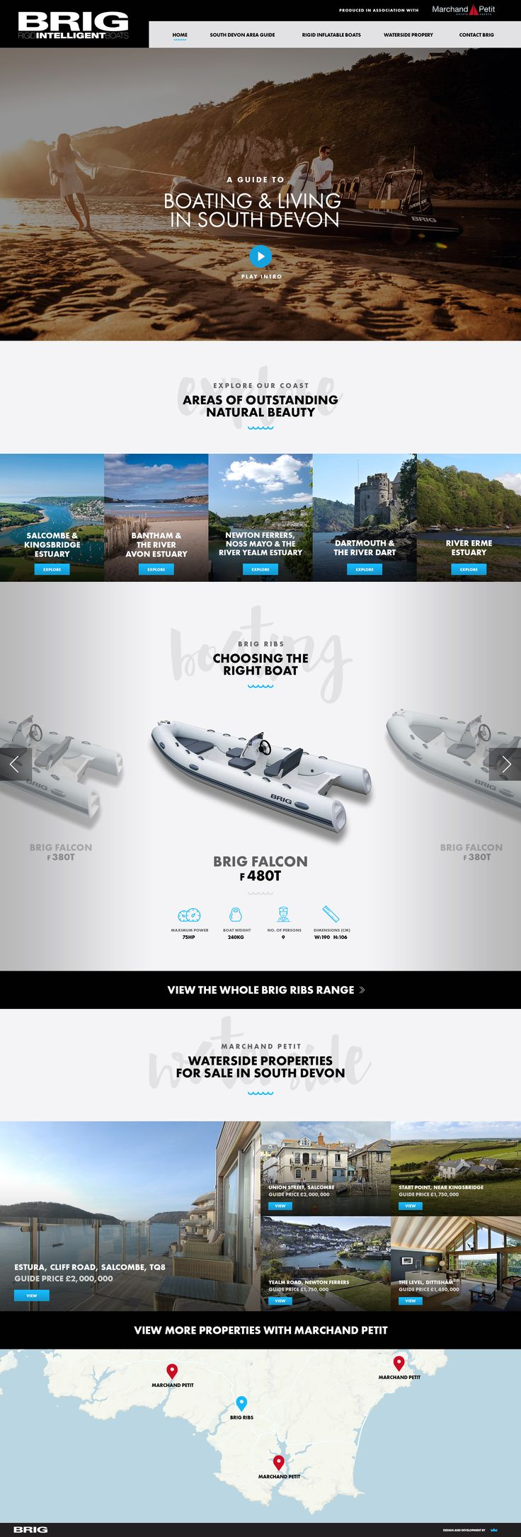 Web Design Inspiration. Concept for a South Devon Area Guide in collaboration with BRIG - Rigid Inflatable Boats and Marchand Petit estate agents.