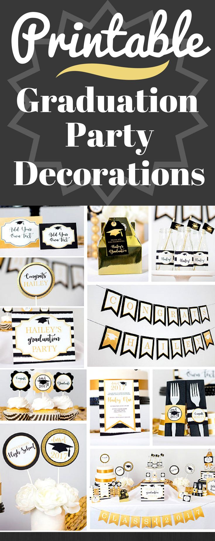 Black and Gold Graduation Party Decoration – INSTANT DOWNLOAD with Matching Invi…