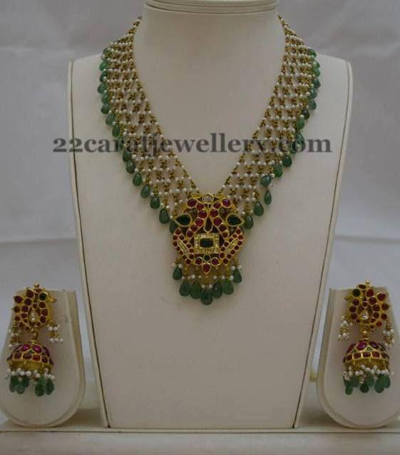 Jewellery Designs: Emerald Pearls Set Kundan Jhumkas