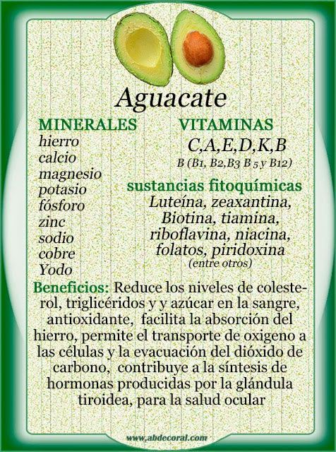 aguacate: minerales, vitaminas, sustancias gitoquimicas