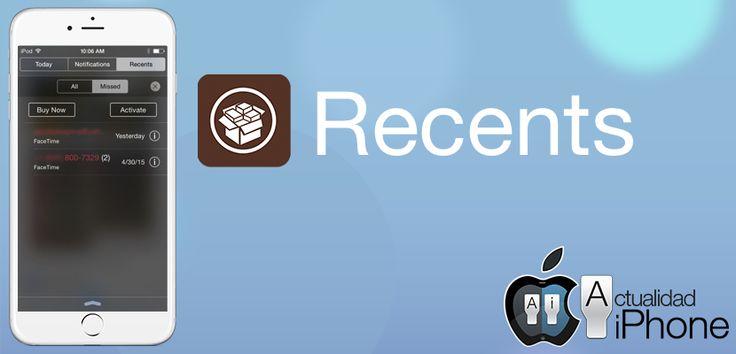 Pon el registro de llamadas en el Centro de Notificaciones con Recents - http://www.actualidadiphone.com/recents-tweak-cydia/