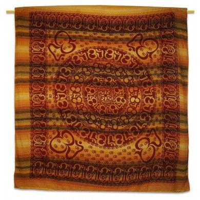"Decorative Om Wall Hanging Yellow Tapestry Table Runner Bedspread 96"" X 82"""