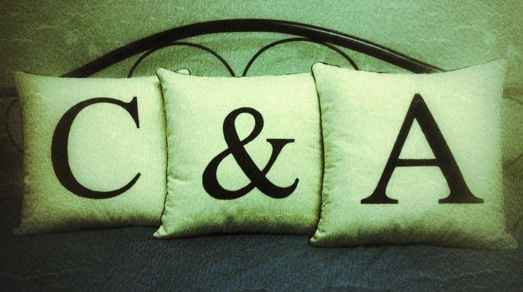 Appliqué cream wool felt cushions for a friends wedding (Chau & Adam). Lined, piped and zipped.