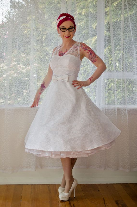 1950s Rockabilly Wedding Dress 'Gayle' with Lace Overlay, Tea Length Skirt and Petticoat - Custom made to fit
