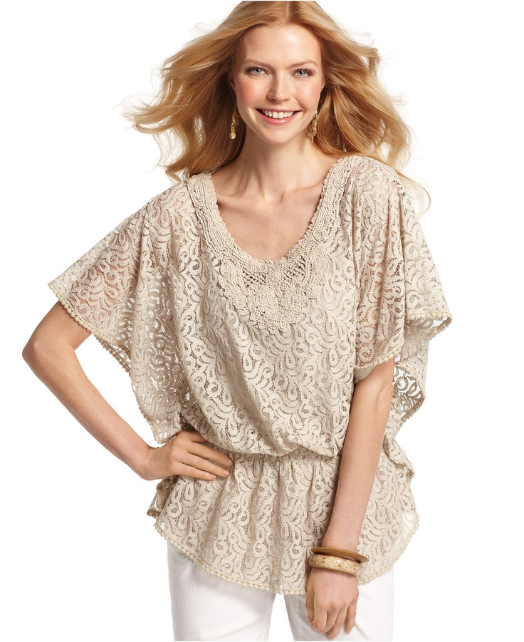 Style Top, Batwing Sleeve Lace V-Neck Tunic